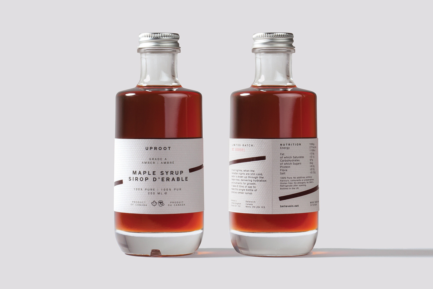 Premium maple syrup and packaging to celebrate UK-based graphic design studio Believe in's expansion into Canada