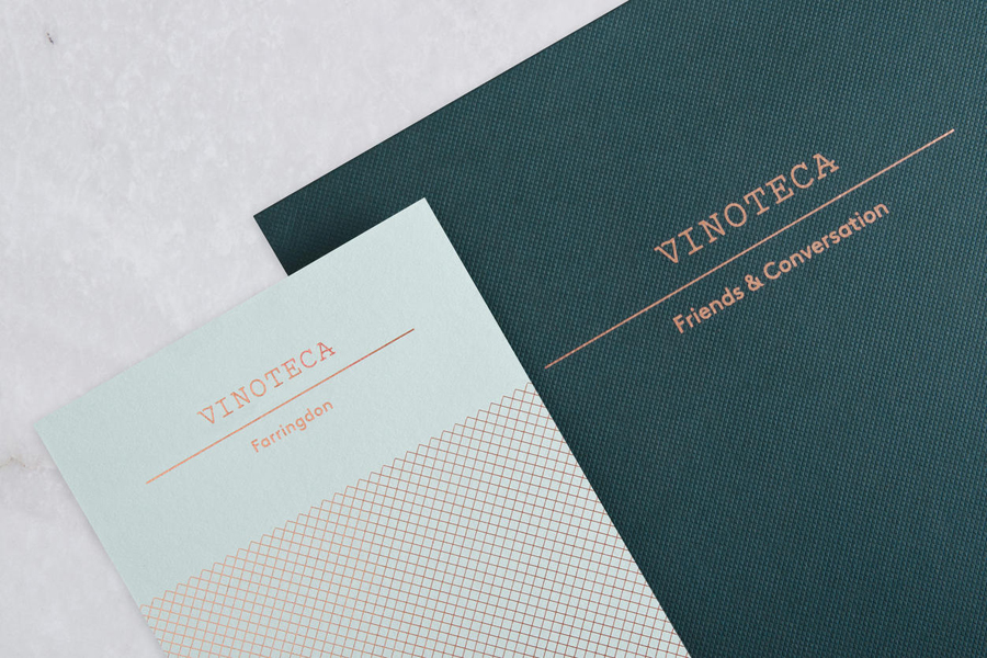 Branding and menu design for London restaurant group Vinoteca by British graphic design studio dn&co.