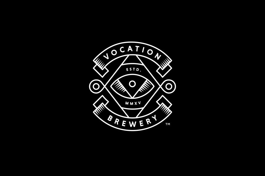 Monolinear logo design by Robot Food for British craft beer brewer Vocation