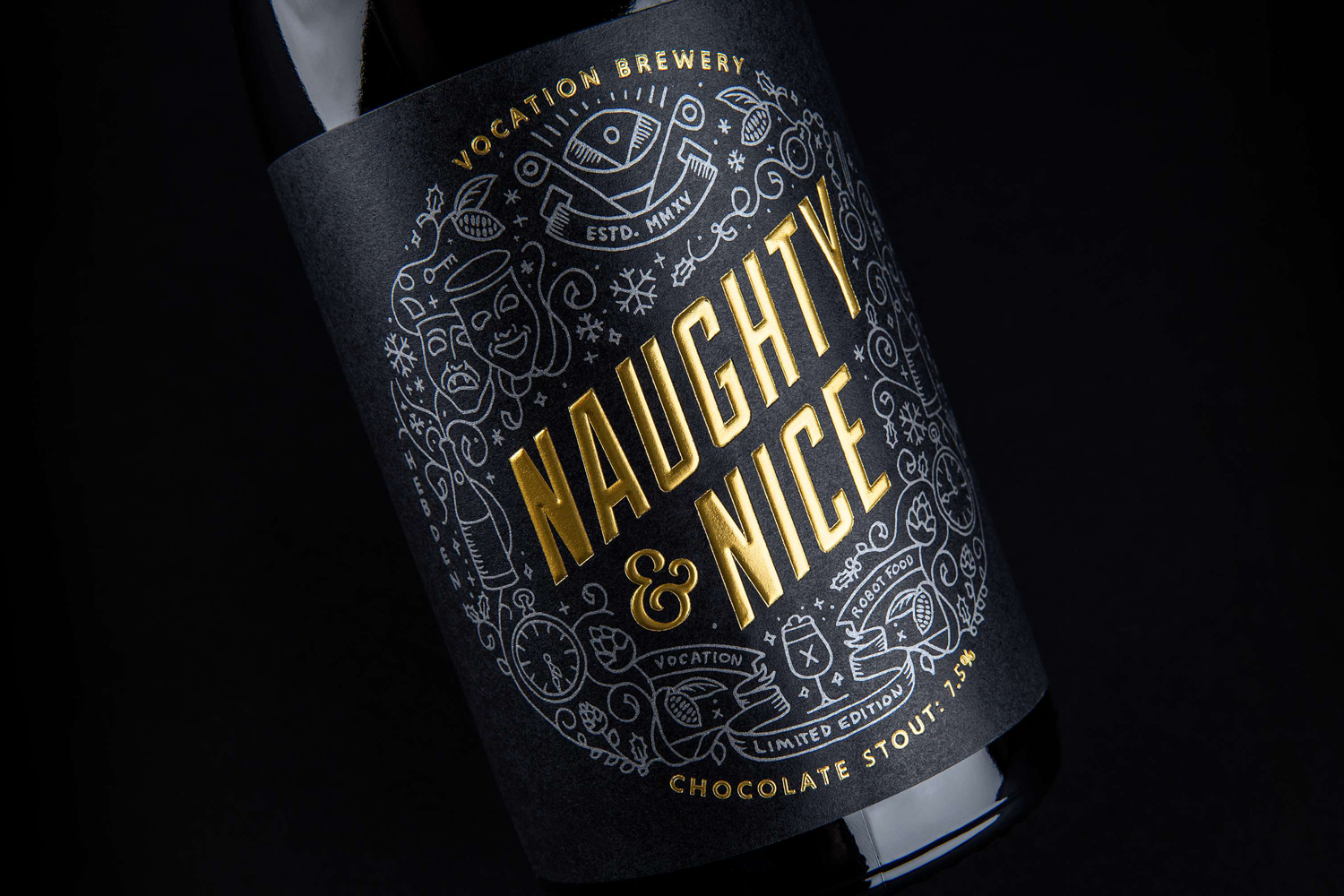 Package design for Vocation Brewery's Limited Edition Christmas Stout by graphic design studio Robot Food, United Kingdom