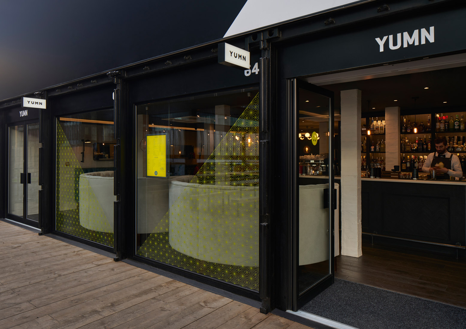 Logo, window graphics and signage by Brighton-based Filthymedia for Boxpark Croydon's casual luxury restaurant Yumn
