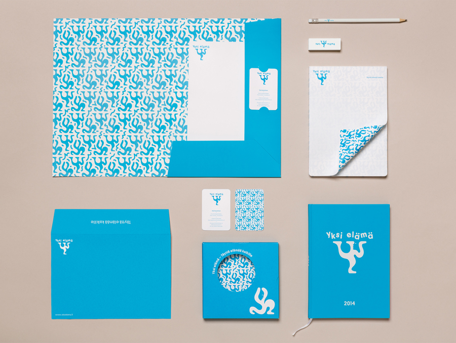Logo and stationery designed by Tsto for Finnish health and wellbeing project Yksi Elämä. Featured on bpando.org