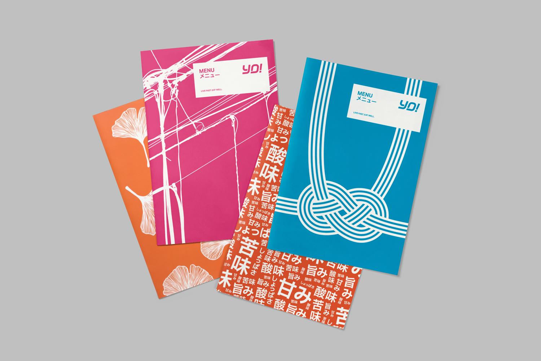 Menus for UK sushi restaurant chain Yo! by London-based design studio Paul Belford Ltd.