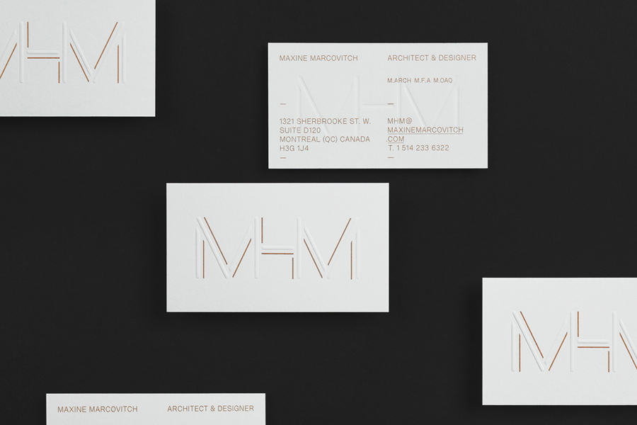 Business card design with copper ink and blind emboss finish for MHM Architects by 26 Lettres