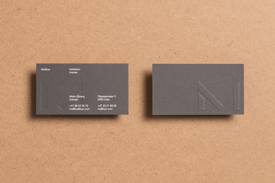 Business card design with white ink, coloured card and blind emboss detail for architecture studio Mellbye by Heydays