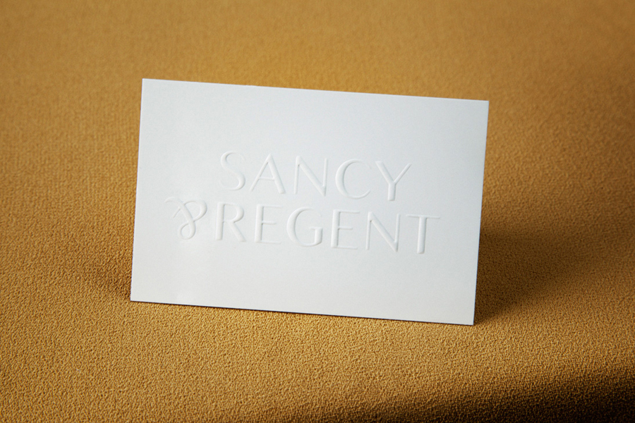Blind emboss business card design for jewellery retailer Sancy & Regent by OK-RM