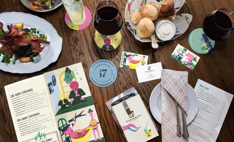 Brand identity, menus and coasters for Stockholm restaurant Österlånggatan 17 by Lobby Design