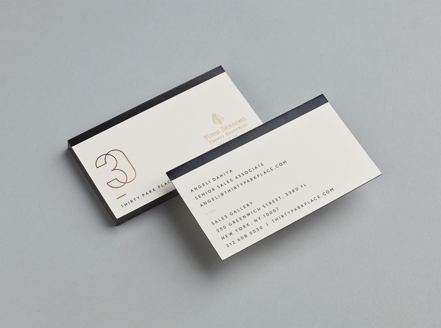 Gold foiled business cards for Four Seasons private residence 30 Park Place by Mother