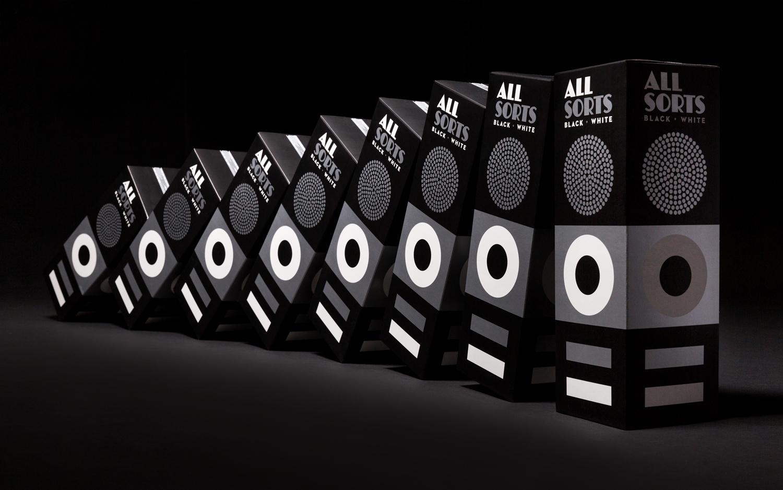 Packaging for liquorice brand Allsorts Black & White by Bond