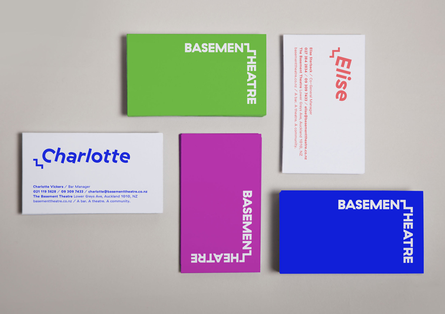 Business cards with fluorescent ink for Basement Theatre by graphic design agency Studio Alexander