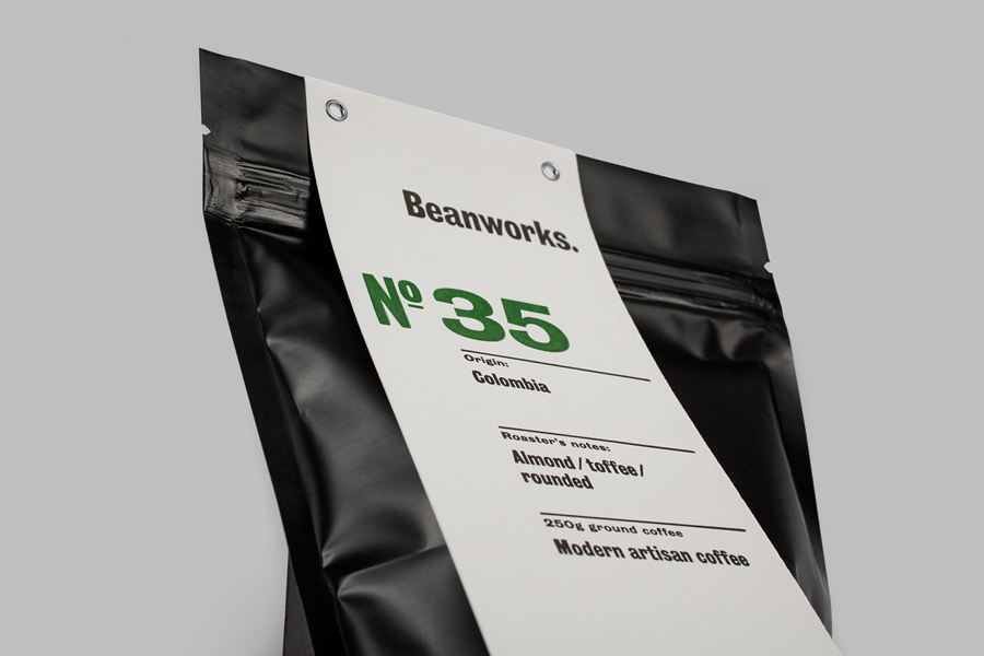 Coffee packaging for roaster and supplier Beanworks designed by Paul Belford