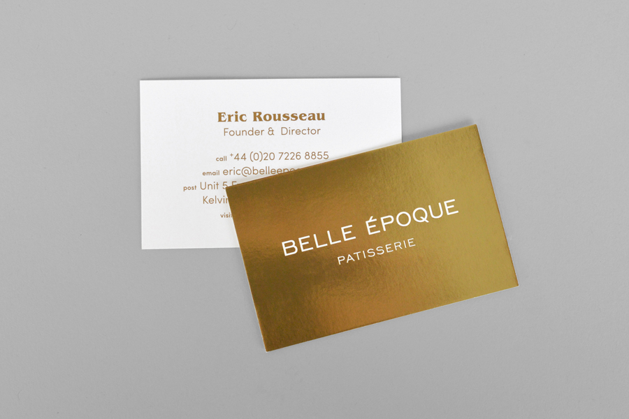 Gold business cards for London based French Patisserie Belle Epoque by Mind Design