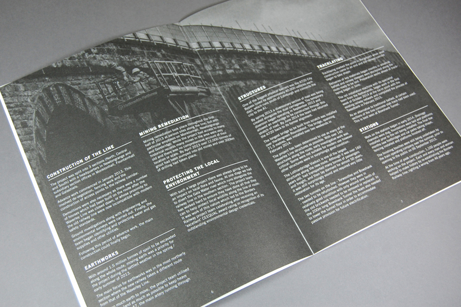 Commemorative brochure for Borders Railway Opening Celebration by Glasgow based graphic design studio KVGD