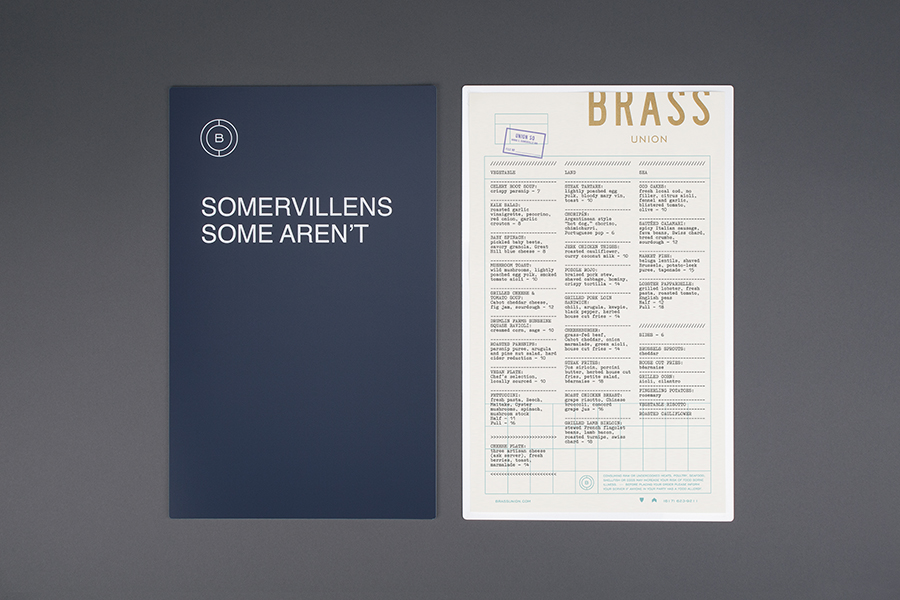 Visual identity and menu for Somerville pub and cocktail bar Brass Union designed by Oat