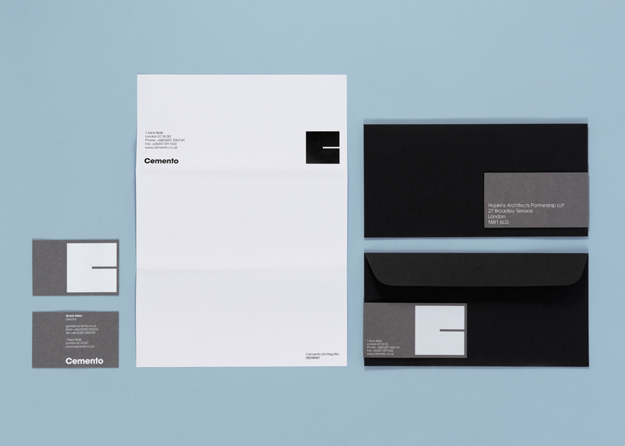 Logo and stationery with white ink detail designed by S-T for UK based Italian cement veneer business Cemento