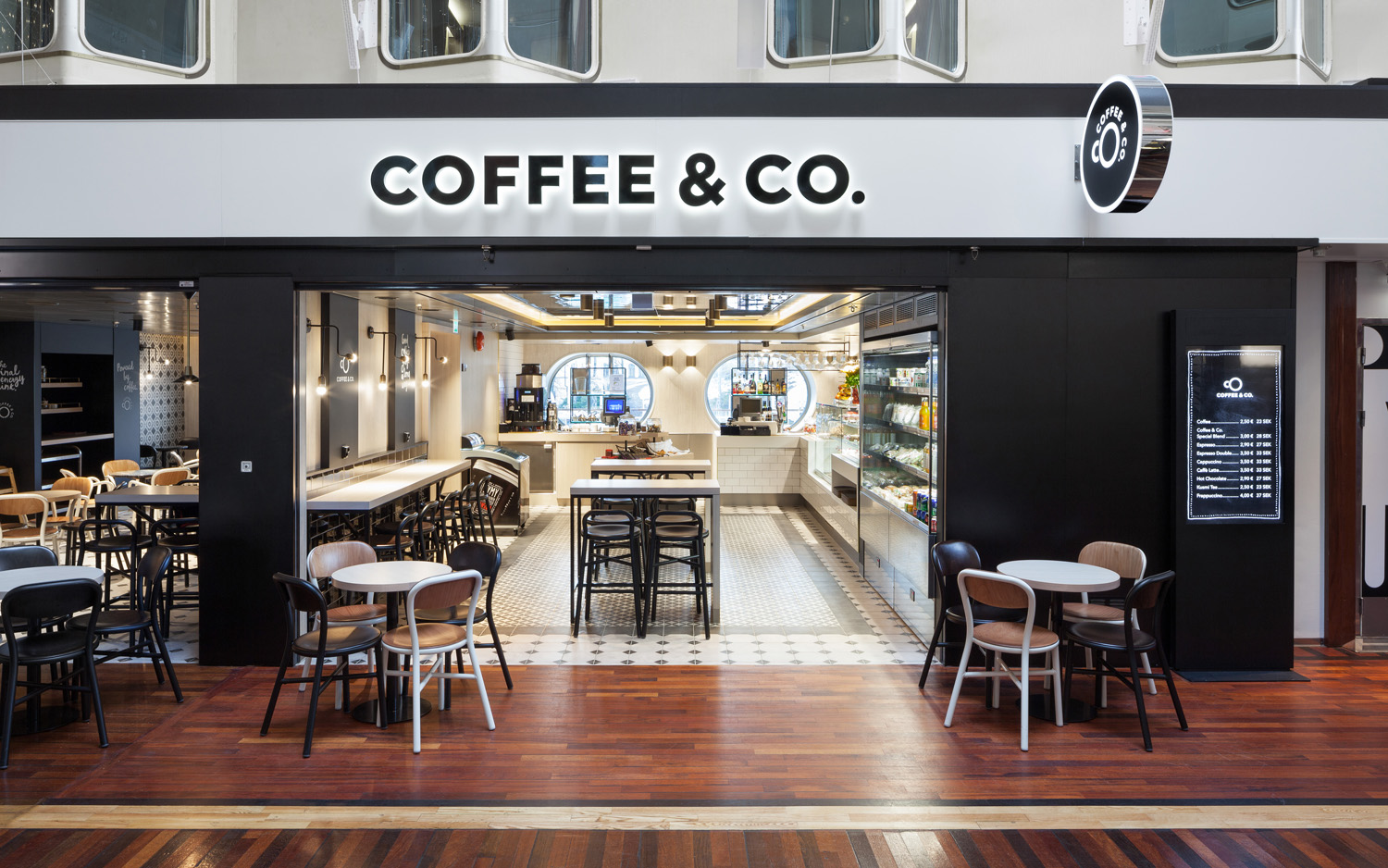 Brand identity and signage by Bond for cruise ship cafeteria concept Coffee & Co.