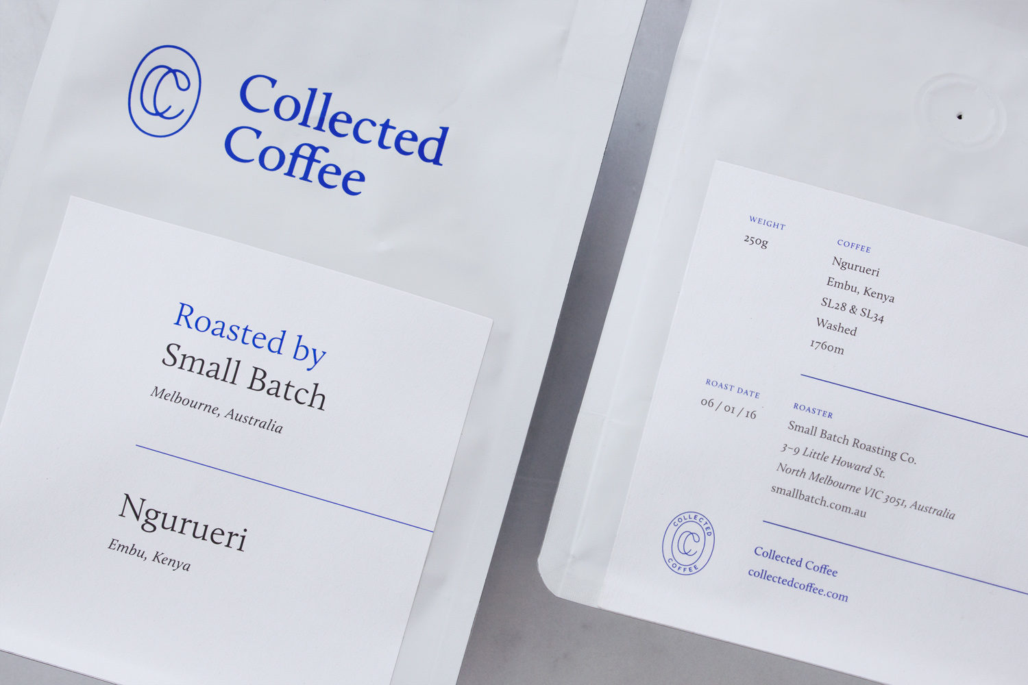 Logo, brand identity and packaging for New York coffee subscription service Collected Coffee by Fivethousand Fingers