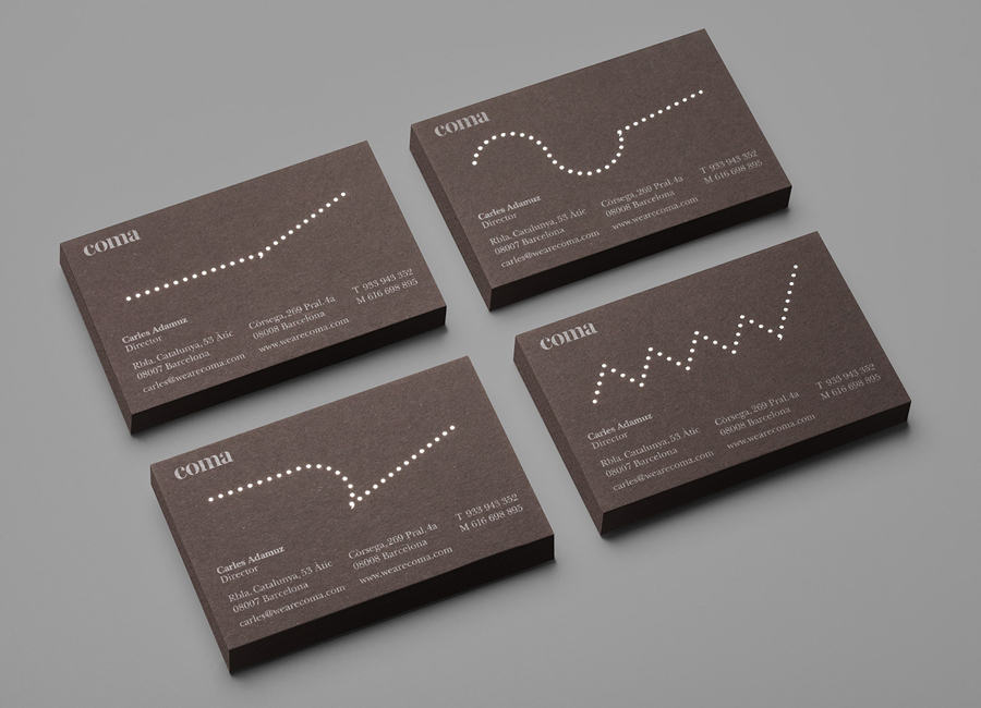 Silver foiled business card design for Coma by Mucho