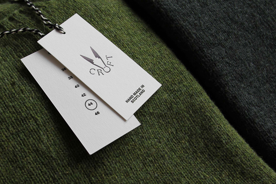Visual identity and black block foil tags by Commission for Croft Knitwear