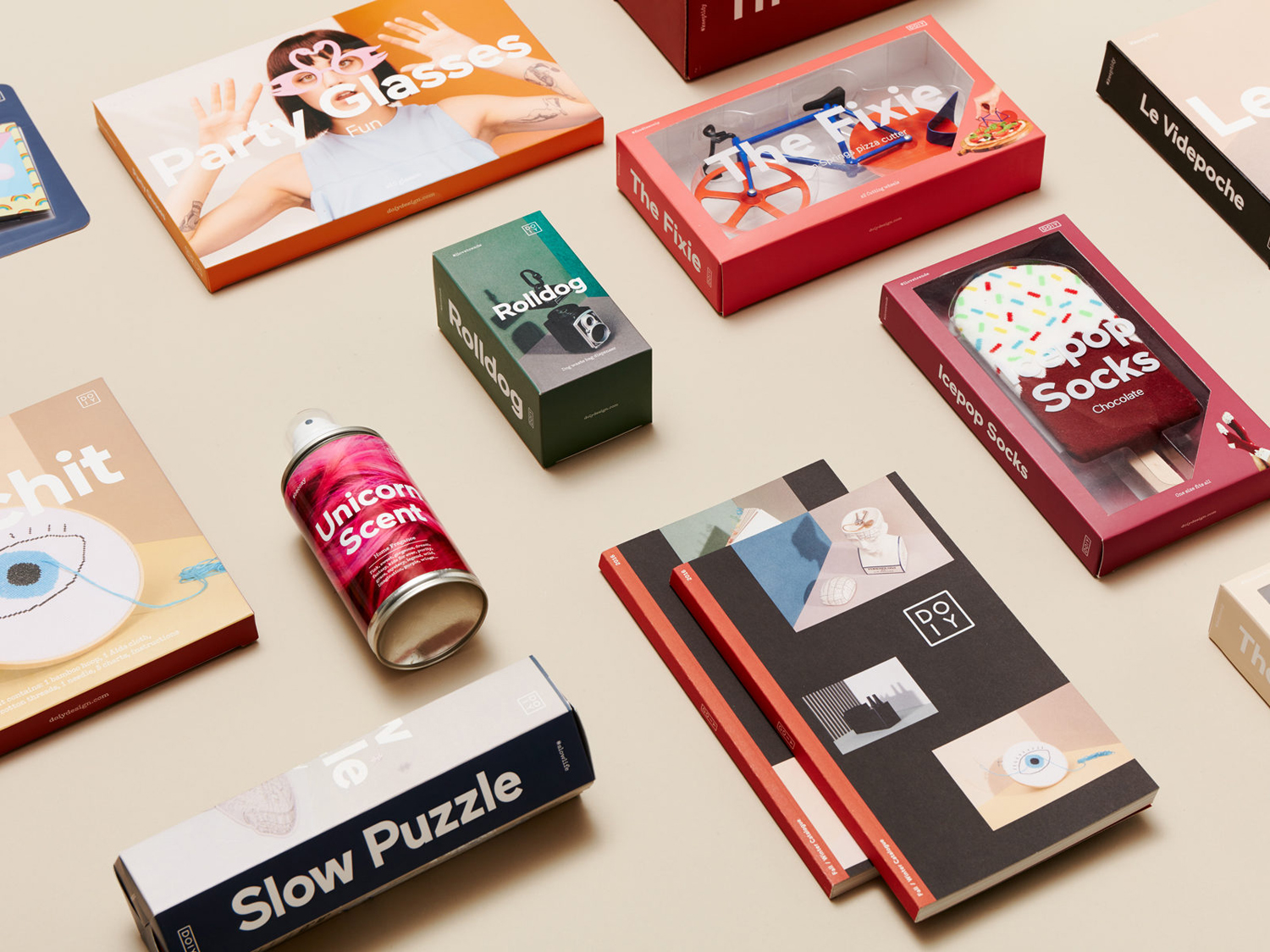 Logo, art direction, print and packaging by Barcelona-based Folch for product design company DOIY