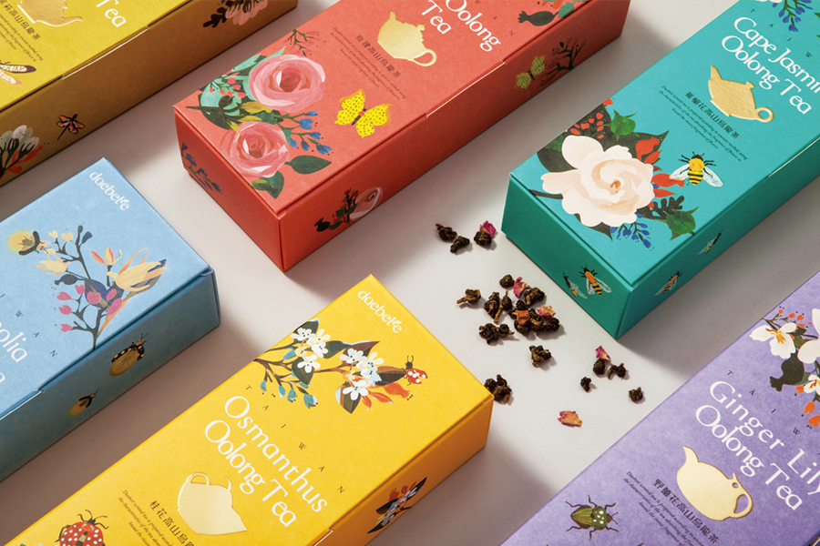 Tea packaging design with gold foil print finish by Victor Design for Daebeté