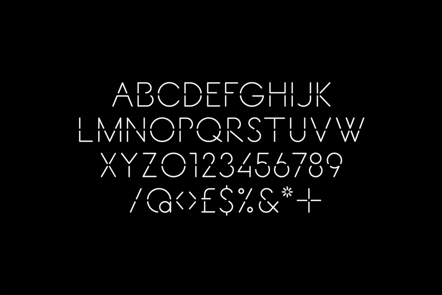 Stencil cut sans-serif, mono-linear logotype for Decontoured designed by Bunch