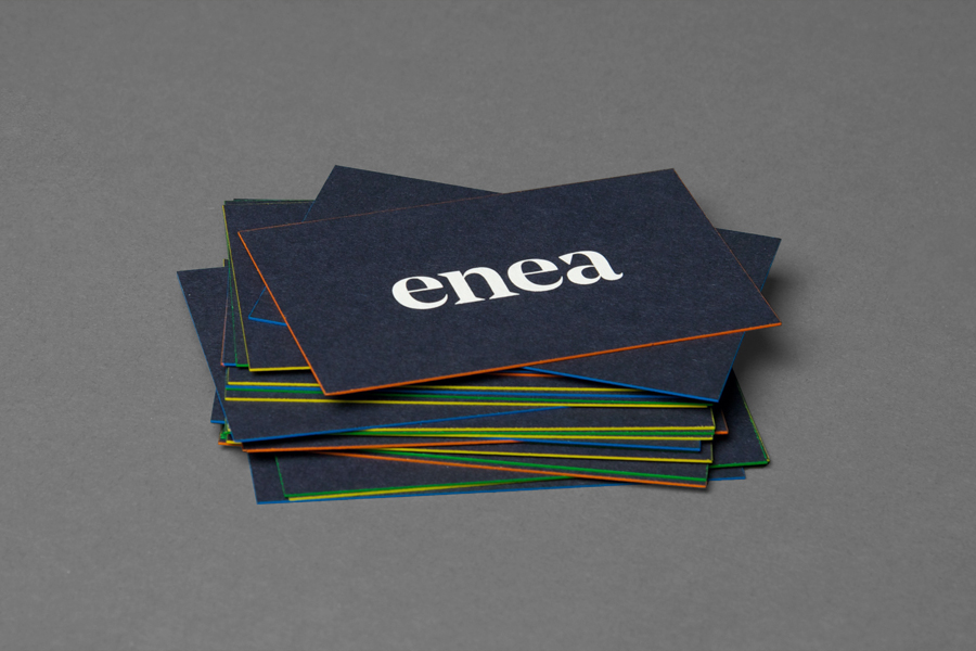Edge painted business cards for furniture design and manufacturing business Enea designed by Clase bcn
