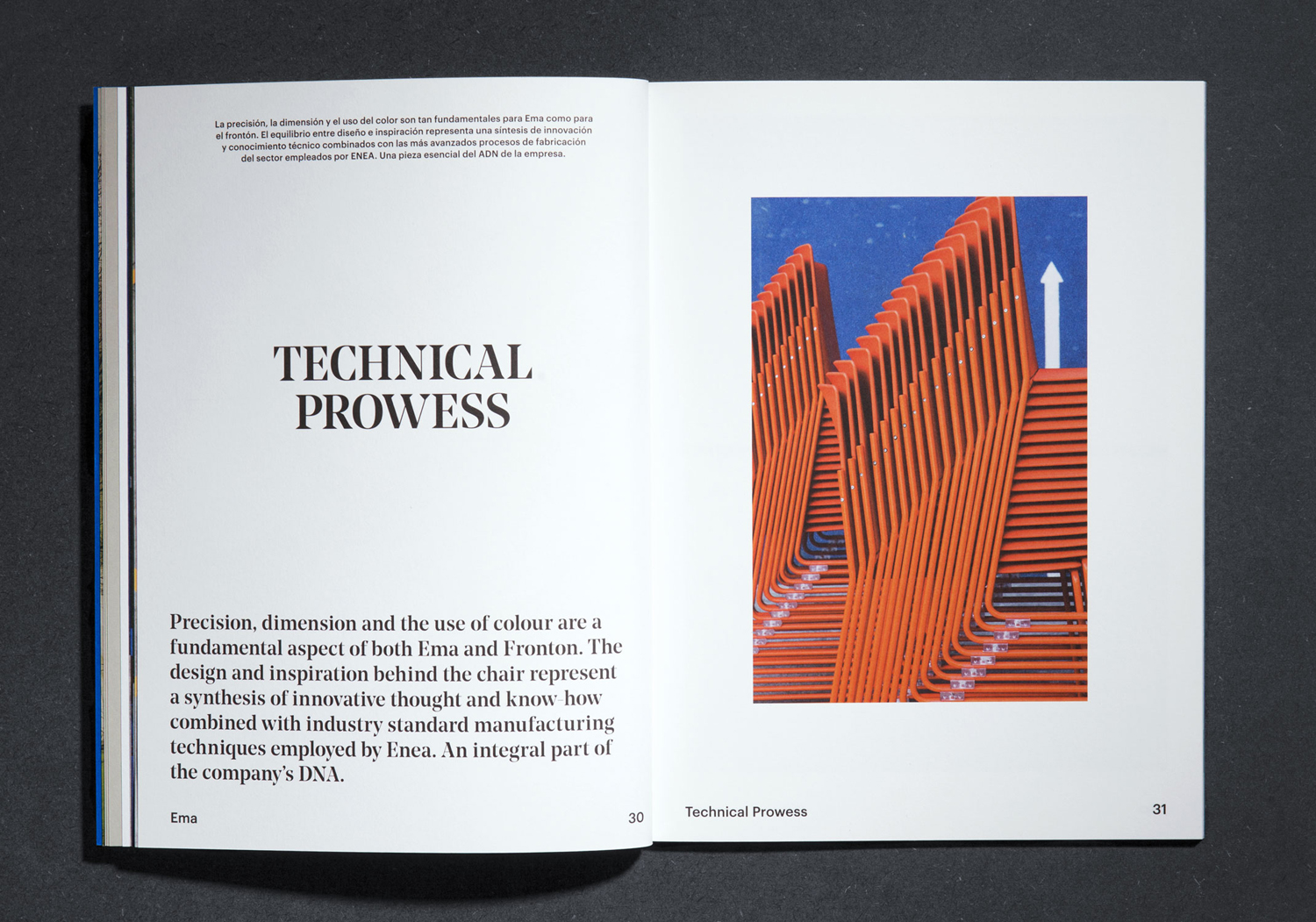 EMA product brochure for furniture design and manufacturing business Enea designed by Clase bcn
