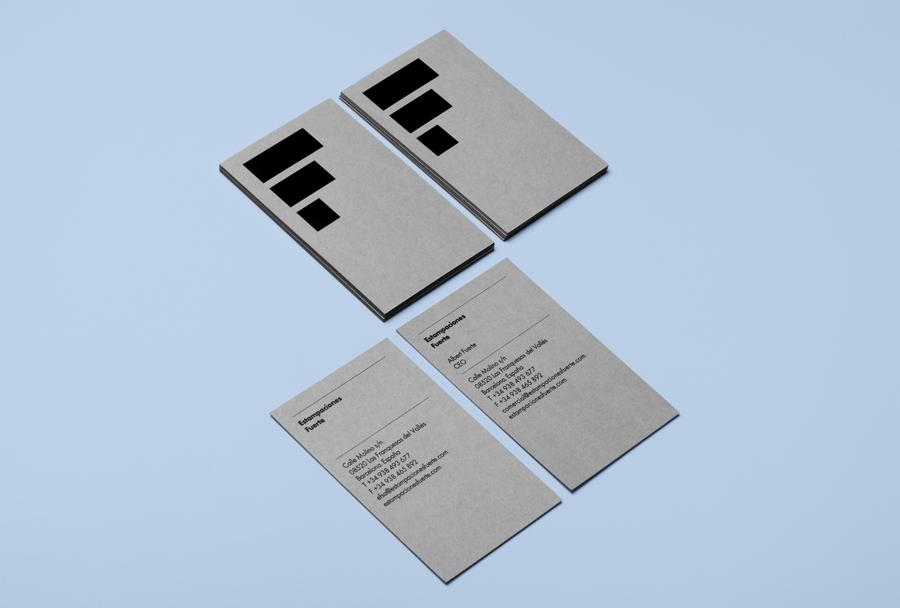 Business cards designed by Hey for metal press business Estampaciones Fuerte
