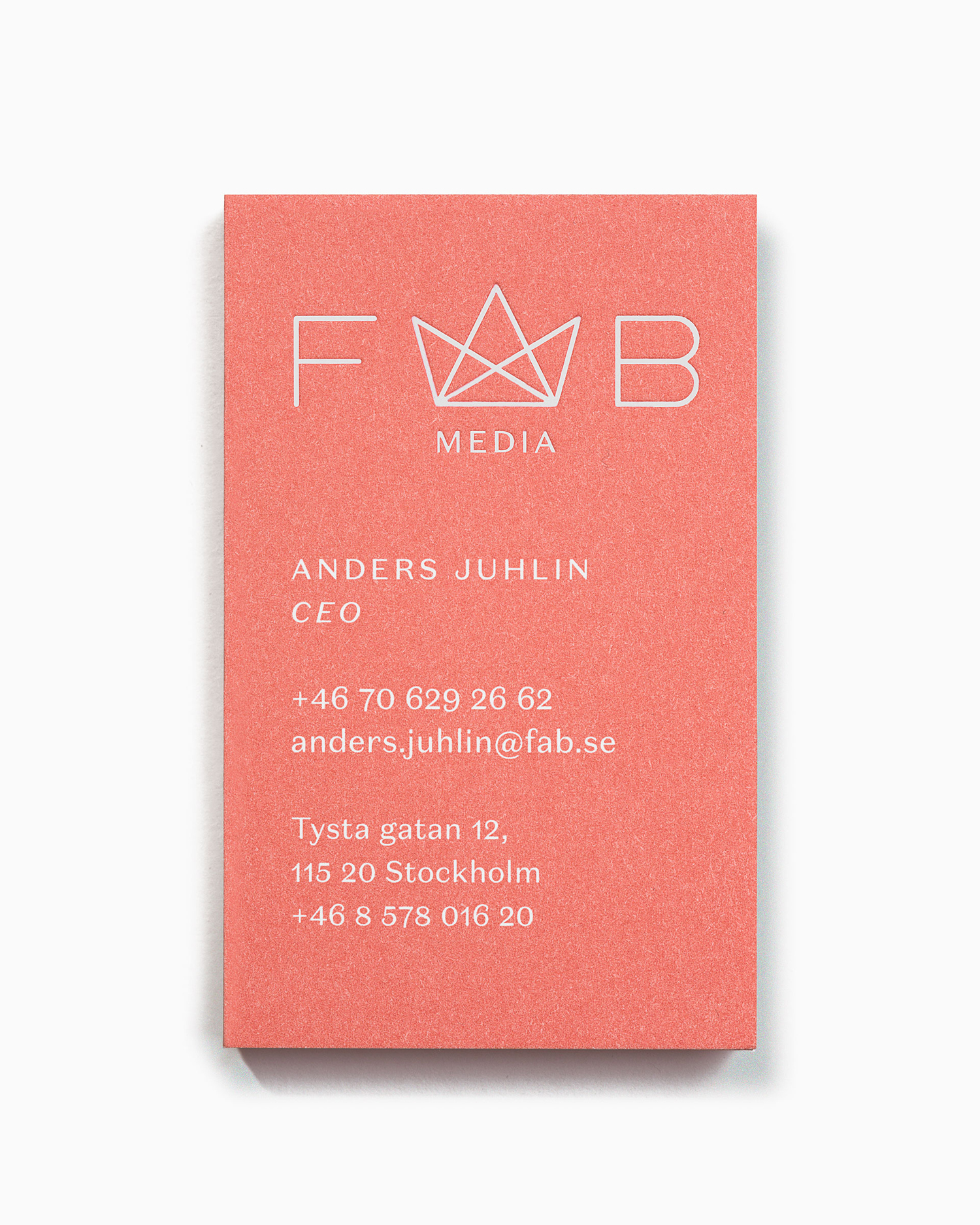 Logo and business card by Stockholm-based Bedow for Swedish media company Fab Media