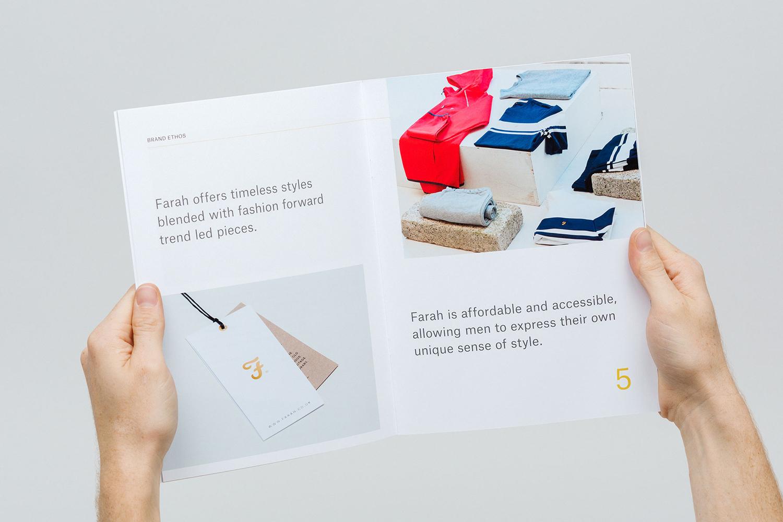 Brand identity and brand book for men's fashion brand Farah by graphic design studio Post