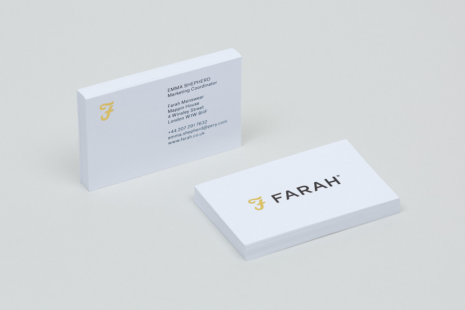 Brand identity and business cards for British fashion label Farah by graphic design studio Post