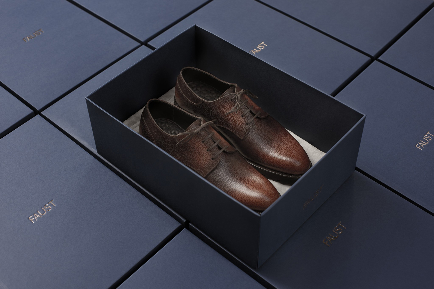 Brand identity and packaging design by Snøhetta for Oslo-based high-end shoemaker Faust