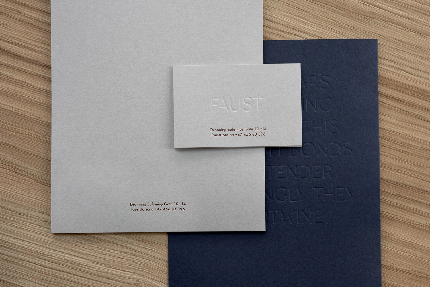 Blind debossed business cards for shore designer, maker and retailer Faust by Snøhetta, Norway