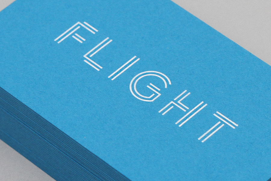 Logo and business cards designed by DIA for LA based public relations business Flight