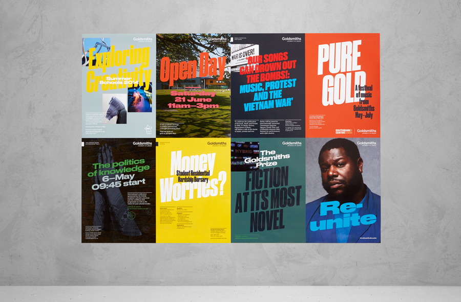 Brand identity and posters for Goldsmiths, University of London by UK based graphic design studio Spy