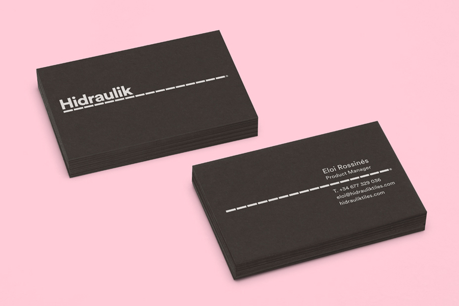 Black board business cards for Hidraulik by graphic design studio Huaman