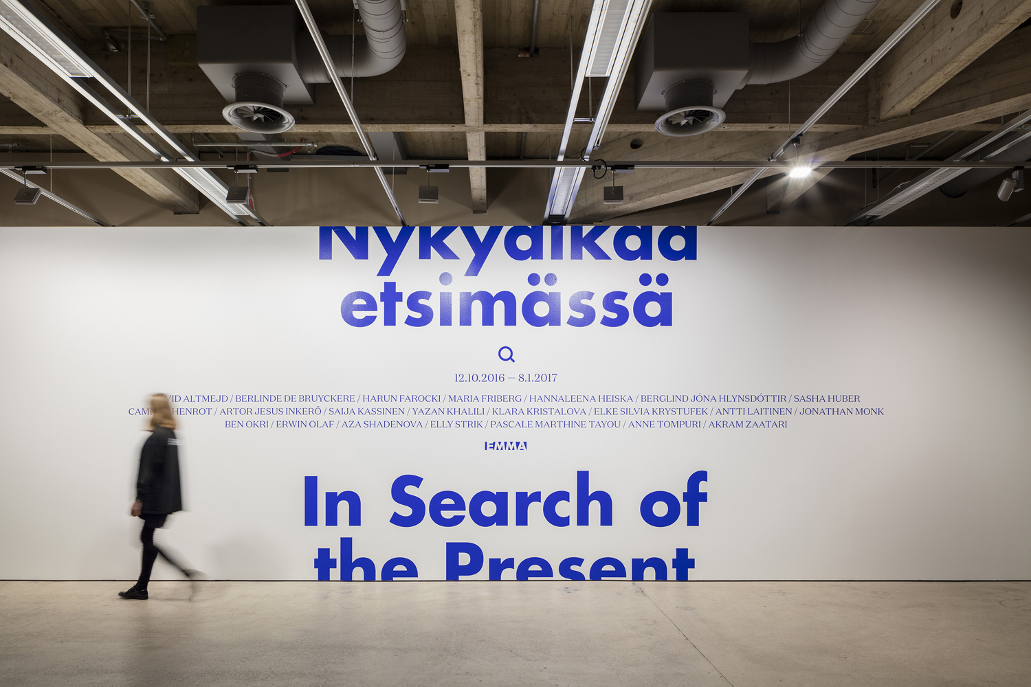 Brand identity and supergraphics designed by Helsinki-based Werklig for EMMA exhibition series In Search Of The Present