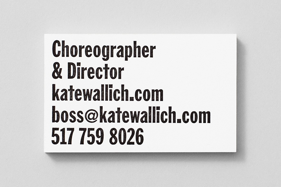 Custom type business card for choreographer Kate Wallich designed by Shore