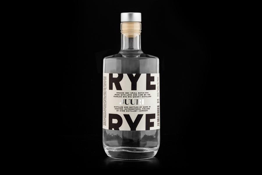 Packaging with custom type for Kyrö Distillery Company by Werklig designed in Helsinki, Finland