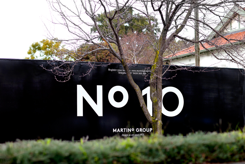 Logo and outdoor advertising for Australian property developer Martino Group designed by Studio Hi Ho