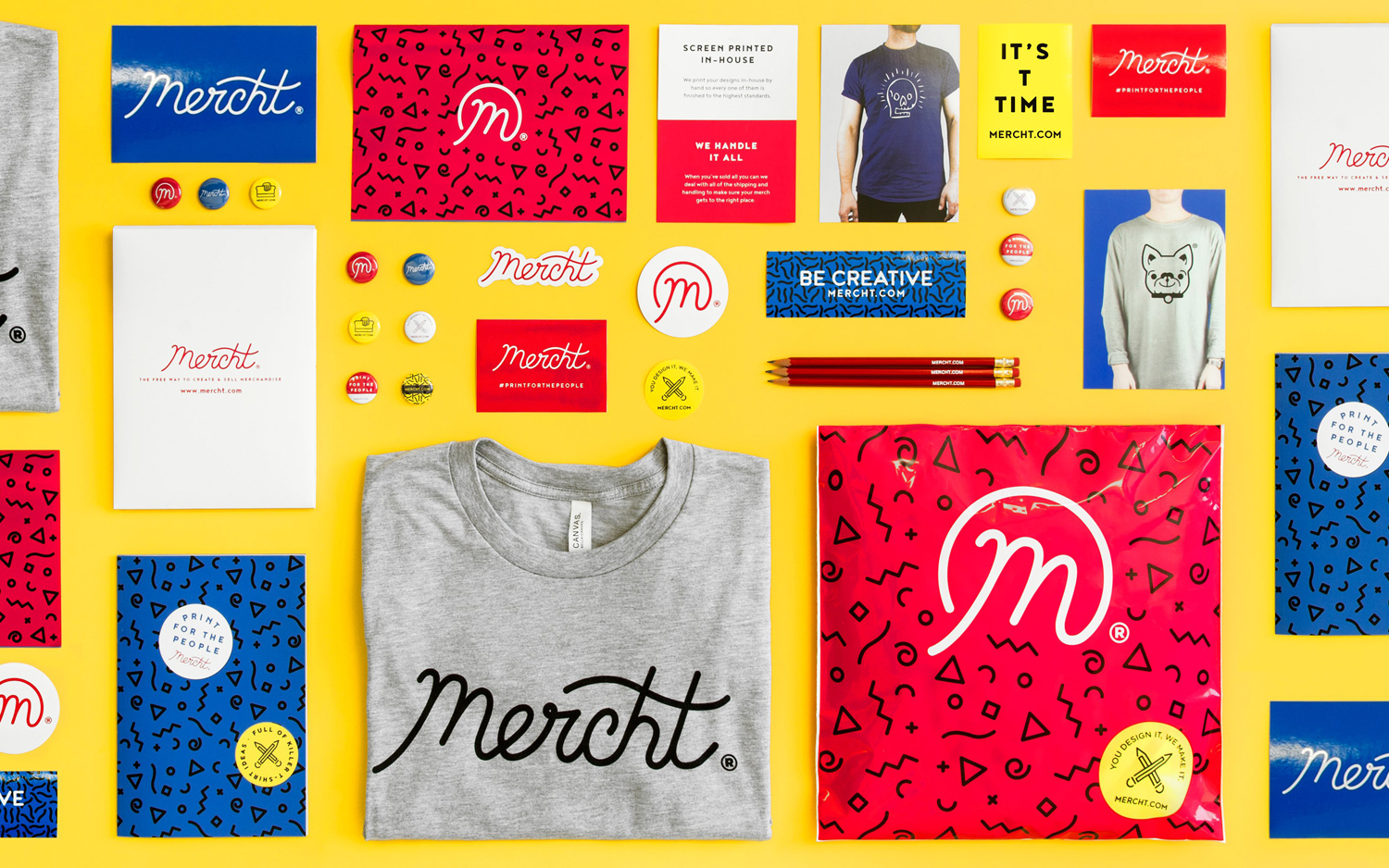 Brand identity and print for UK based custom merchandise business Mercht by Robot Food