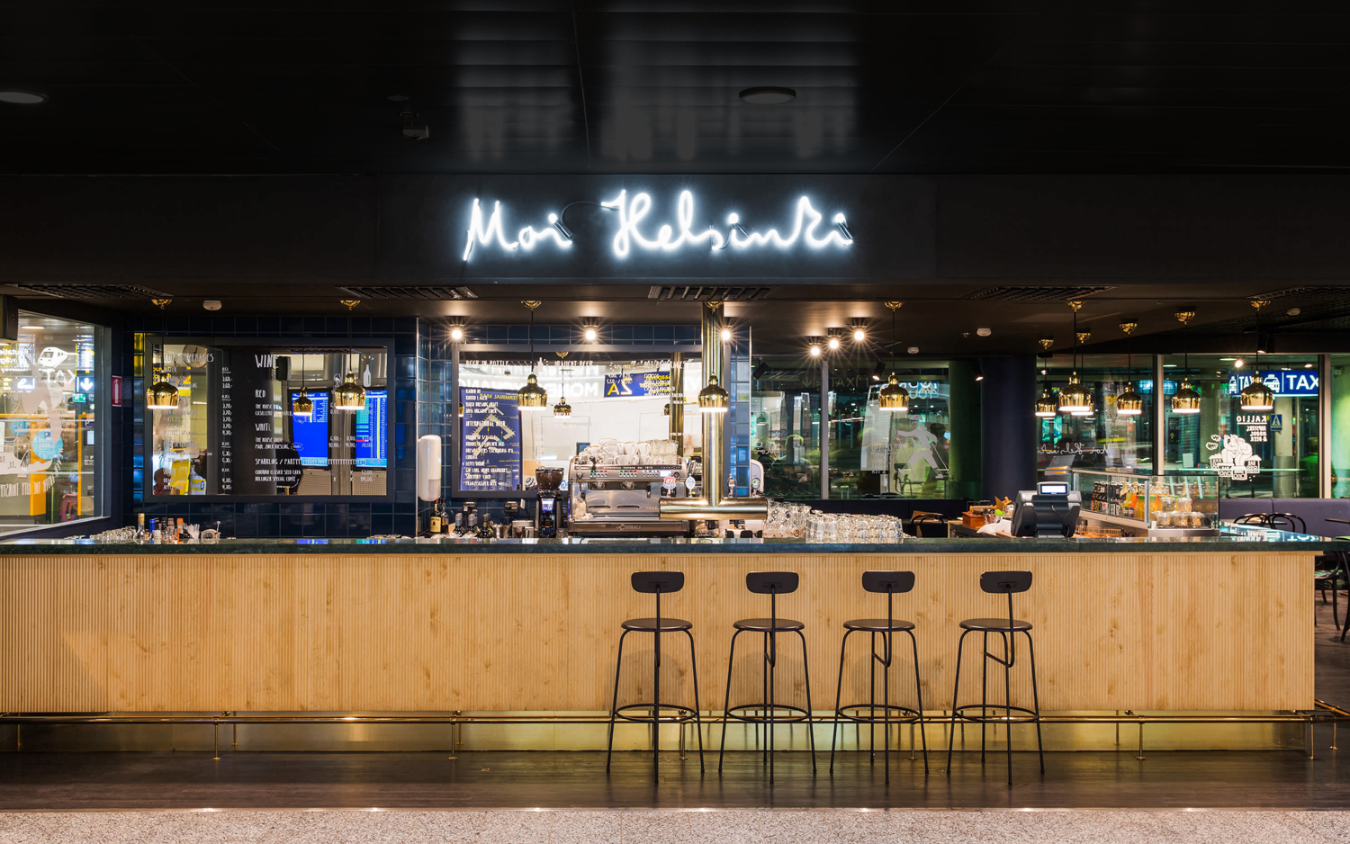 Lettering and neon signage for Moi Helsinki by Bond, Finland