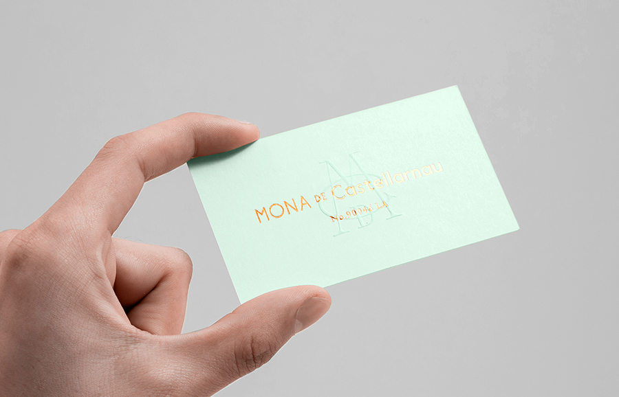 Gold foil and blind embossed business card for lifestyle brand Mona De Castellarnau by Anagrama