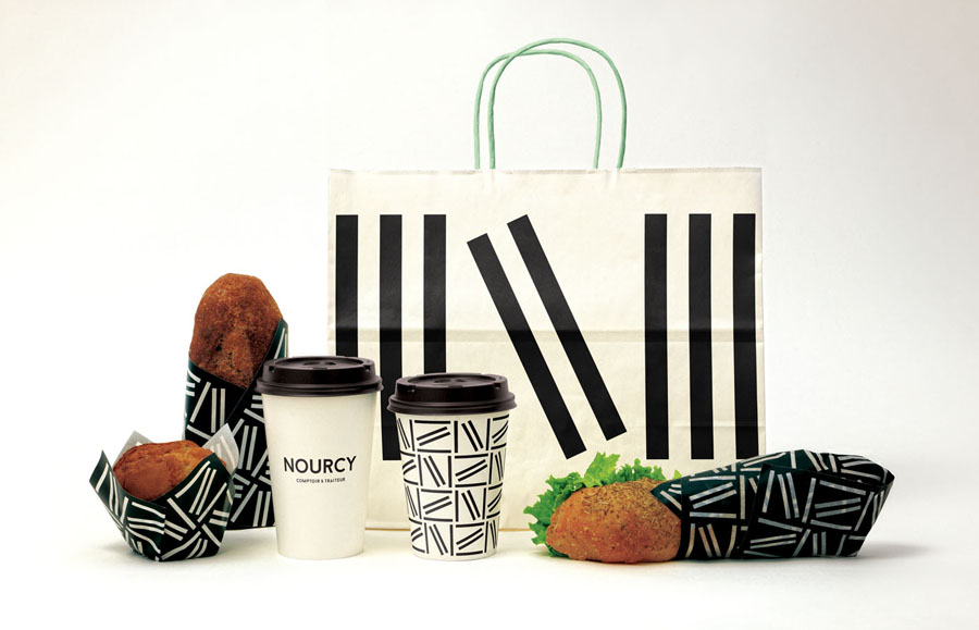 Coffee cups, wraps and packaging designed by lg2boutique for Quebec City delicatessen Nourcy