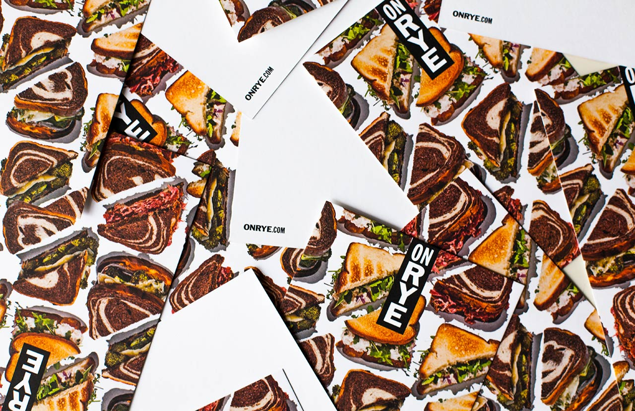 Brand identity and print by Pentagram for Washington DC sandwich shop On Rye