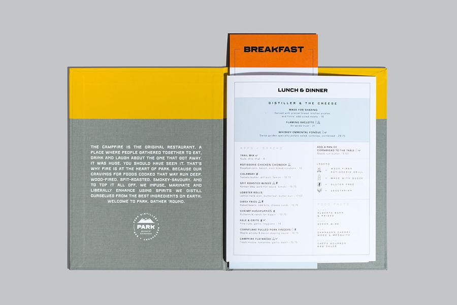 Branding and menu design for Banff based restaurant, bar and distillery Park by Glasfurd & Walker