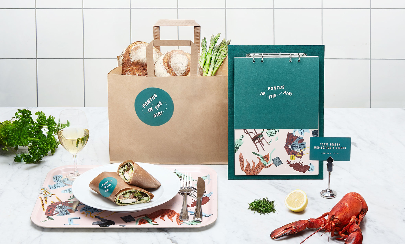 Logotype, illustration and menu by Stockholm-based Bold for Arlanda Airport restaurant Pontus In The Air