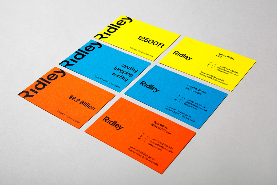 Logotype and business cards designed by RE: for digital architecture and documentation service Ridley. Featured on bpando.org