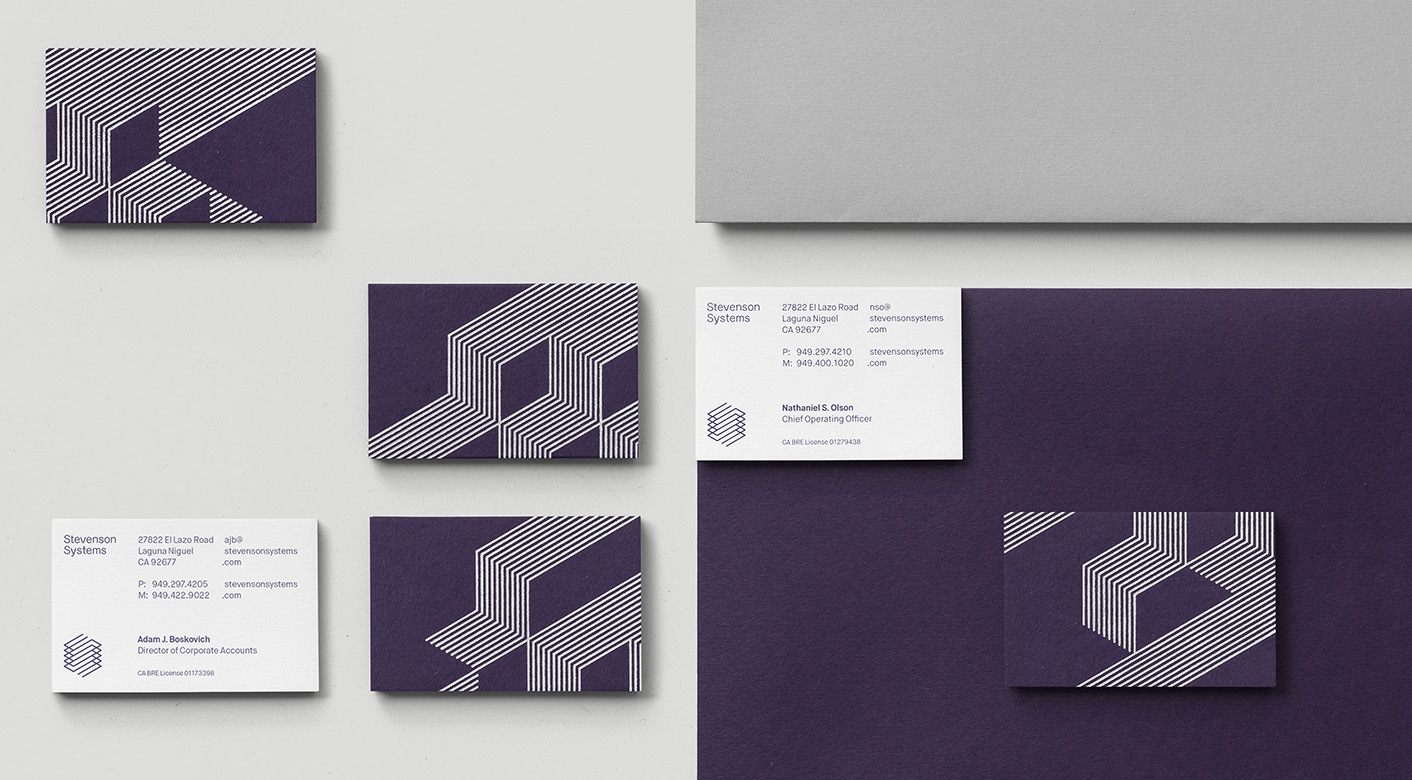 Brand identity and business cards by London-based Socio Design for space accounting specialist Stevenson Systems